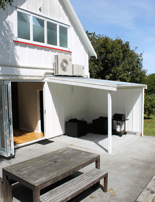 Barn/Green Room Patio, covered outdoor seating area and BBQ
