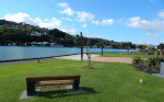 Park Bench with a view on the Town Basin Art Trail